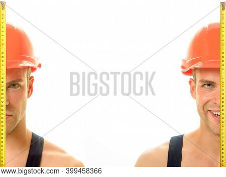 Builder With Measure Tape. Measuring Device. Construction Worker. Worker Use Tape Measure. Builder E