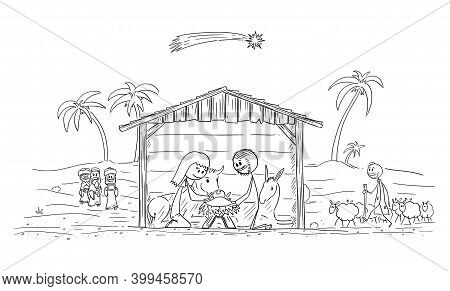 Vector Cartoon Stick Figure Illustration Of Nativity Scene Of Infant Jesus, Mary And Joseph In Bethl