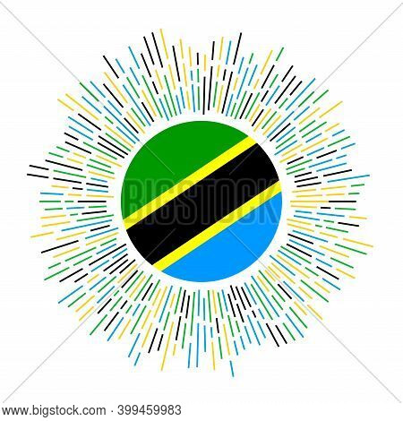 Tanzania Sign. Country Flag With Colorful Rays. Radiant Sunburst With Tanzania Flag. Vector Illustra