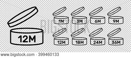 Period After Open Icons Isolated On Transparent Background. Pao Symbols. Round Box With Cap Opened.