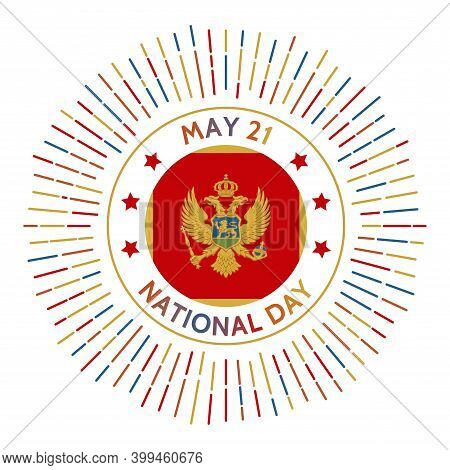 Montenegro National Day Badge. Referendum On Independence From Serbia And Montenegro In 2006. Celebr