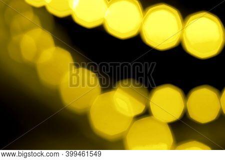 Popular Color Of 2021. Yellow Christmas Illumination. Bright Yellow Shine Bokeh. Led Lights Tape Clo