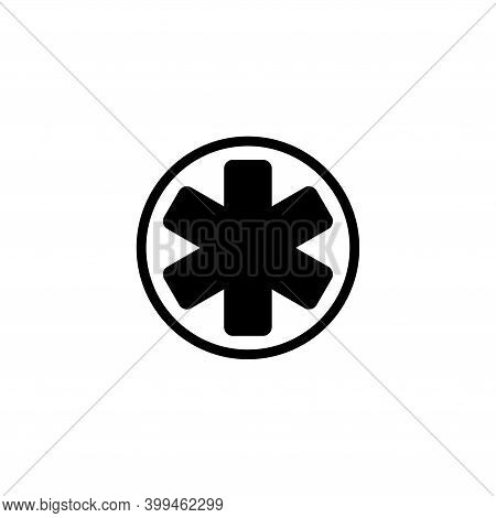 Star Of Life, Medical Emergency Clinic. Flat Vector Icon Illustration. Simple Black Symbol On White