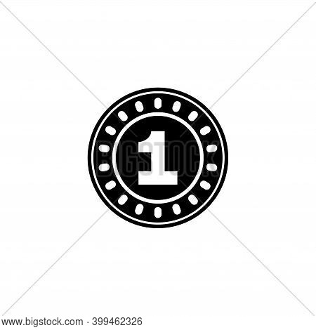 One Golden Coin, 1 Gold Cent Or Dollar. Flat Vector Icon Illustration. Simple Black Symbol On White
