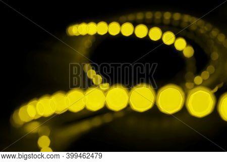 Diode Strip. Glitter Bokeh. Yellow Christmas Illumination. Christmas And New Year Glowing Abstract B