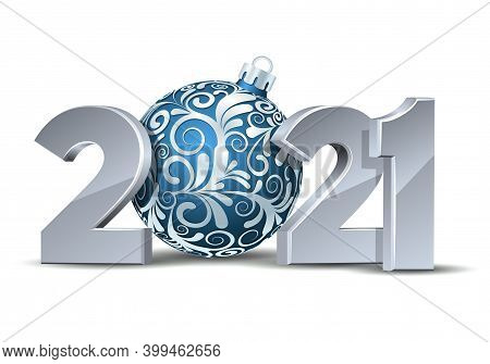 White Numbers Design Of Greeting Card With Blue Christmas Ball