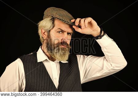 Old Fashioned. Beard Grooming. Real Masculinity. Retro Gentlemen. Mature Handsome Man. Masculine App