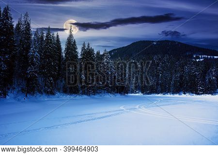 Frozen Mountain Lake Among Spruce Forest At Night. Beautiful Winter Landscape In Full Moon Light