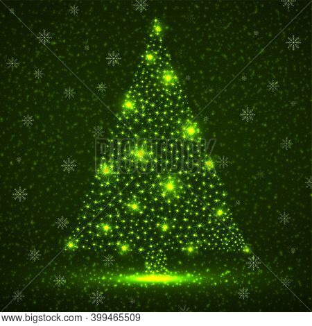 Abstract Neon Christmas Tree With Stars And Particles