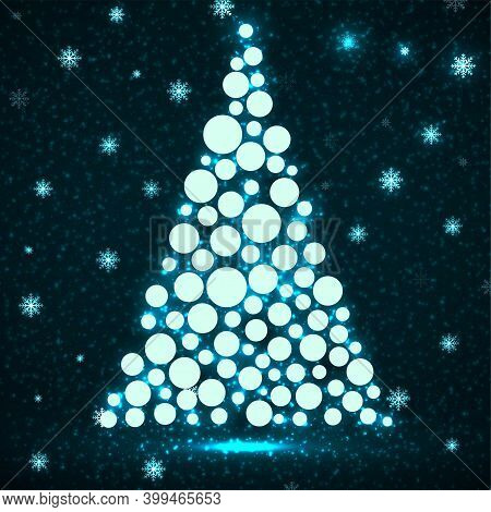 Abstract Neon Christmas Tree With Glowing Circles