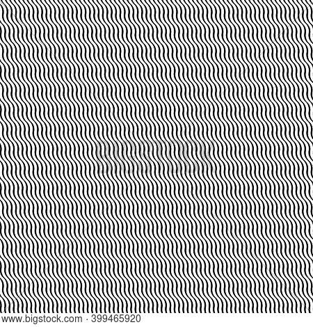 Wavy Lines Seamless Pattern. Angled Jagged Stripes Ornament. Linear Waves Motif. Diagonal Curves Pri