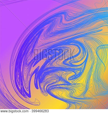 Abstract Colorful Wavy Stripes. Bright Of Thin Lines For Your Background