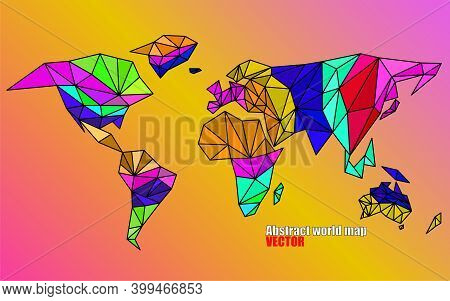 Abstract World Map In Geometric Polygonal Style. Colorful Vector