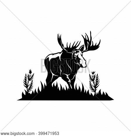 Horned Elk, Moose - Wildlife Stencils - Mountain Silhouettes, Vector