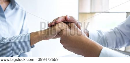Close Up Of Doctor Touching Patient Hand For Encouragement And Empathy On The Hospital, Cheering And