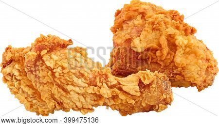 Fried Spicy Chicken Drumstick Leg Piece And Breast Piece Isolated On White Background. Studio Shot.