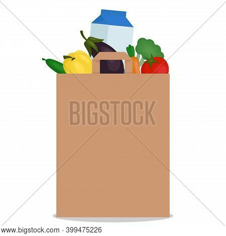 Filled Paper Bag With Food On A White Background. Natural Food, Organic Vegetables. Vector Illustrat