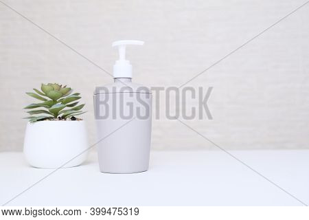 Gray Soap Dispenser And Potted Plant For Spa, Body And Face Care, Bathroom Interior In Pastel Colors
