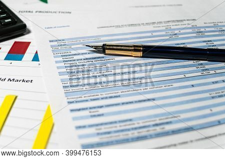 Statement Of Profit And Loss. Accounting And Financial Report Analysis.