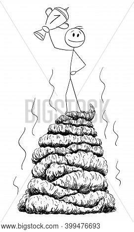 Vector Cartoon Stick Figure Illustration Of Successful Man Or Businessman Standing On Big Stinky Pil
