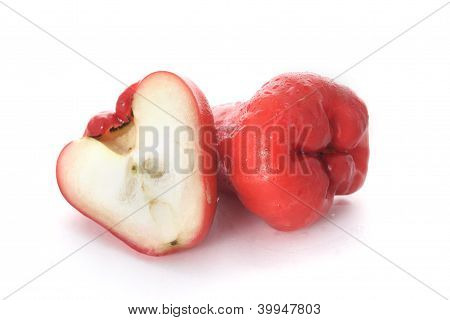 two wax apples on white background, soft shadow