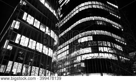 Warsaw, Poland. 24 November 2020. Modern Office Building Wieza Mbank In Night. Black And White.