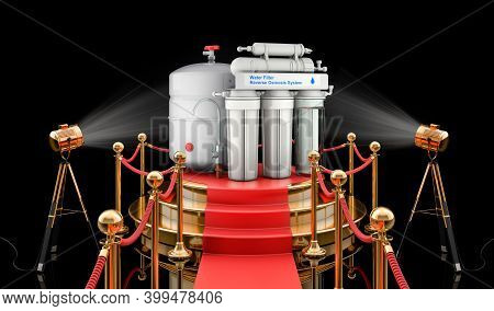 Podium With Reverse Osmosis System, 3d Rendering Isolated On Black Background