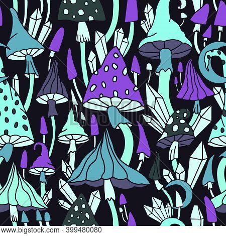 Psychedelic Hallucinogenic Mushrooms And Fly Agaric. Vector Print For Printing On Paper, Fabric, Clo
