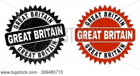 Black Rosette Great Britain Seal. Flat Vector Distress Seal With Great Britain Phrase Inside Sharp R