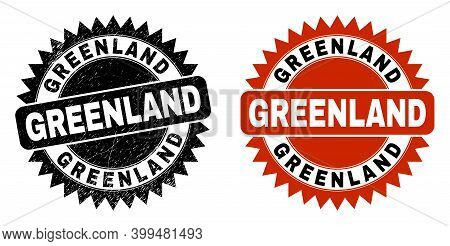 Black Rosette Greenland Seal Stamp. Flat Vector Scratched Seal With Greenland Text Inside Sharp Rose