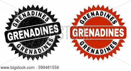 Black Rosette Grenadines Watermark. Flat Vector Scratched Watermark With Grenadines Caption Inside S