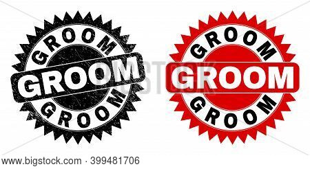 Black Rosette Groom Seal Stamp. Flat Vector Scratched Seal With Groom Text Inside Sharp Rosette, And