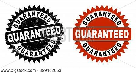 Black Rosette Guaranteed Seal Stamp. Flat Vector Grunge Seal Stamp With Guaranteed Caption Inside Sh