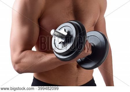 Handsome Muscular Man Uses His Dumbbell To Exercise Flexing Bicep Muscle, Isolated On White Backgrou