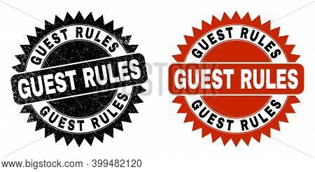 Black Rosette Guest Rules Seal Stamp. Flat Vector Grunge Seal Stamp With Guest Rules Text Inside Sha