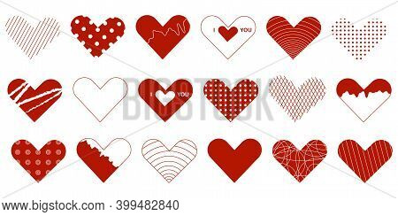 Heart Valentine Icon Set. 18 Elements For Valentines Day Greeting Card. Love Symbol.
