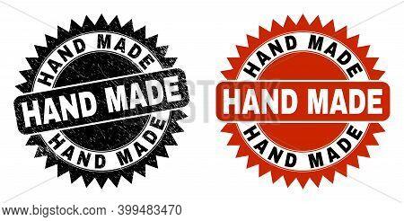 Black Rosette Hand Made Seal Stamp. Flat Vector Grunge Seal With Hand Made Phrase Inside Sharp Roset