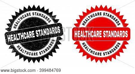 Black Rosette Healthcare Standards Watermark. Flat Vector Distress Seal Stamp With Healthcare Standa