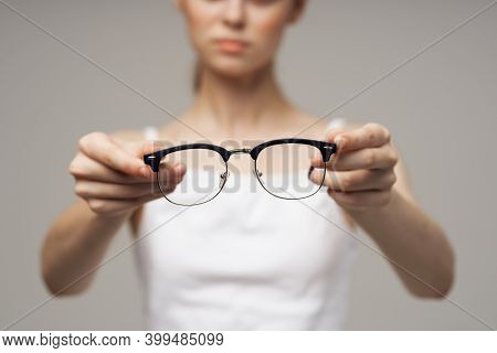 Woman In White T-shirt Glasses Vision Problems Myopia