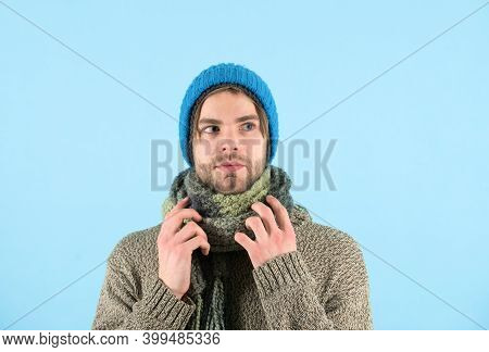 Winter Is Coming. Man Wear Winter Clothes In Cold Weather. Bearded Man Got Cold And Flu. Cold Nose,