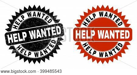 Black Rosette Help Wanted Seal. Flat Vector Textured Seal With Help Wanted Title Inside Sharp Rosett