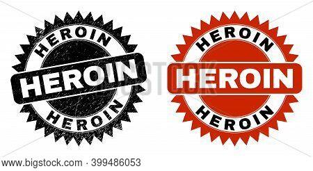 Black Rosette Heroin Watermark. Flat Vector Grunge Watermark With Heroin Phrase Inside Sharp Rosette