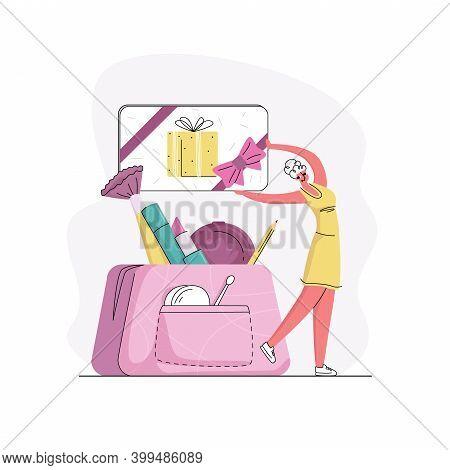 Vector Flat Illustration Concept Gift Cards, Sweepstakes, Greetings, Holidays, Attracting Customers