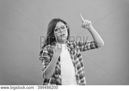 Nerd Party. Cute Nerd. Child Charming Turquoise Background. Girl Hold Eyeglasses For Party. Child Wi