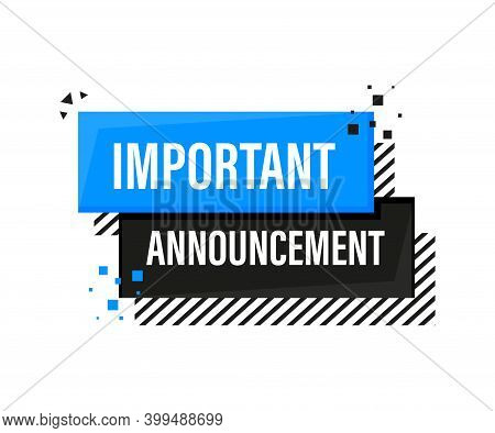 Important Announcement Megaphone Blue Banner In 3d Style On White Background. Vector Illustration.