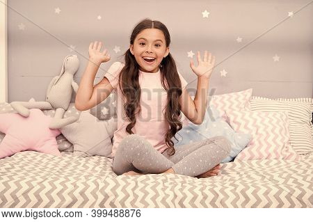 Happy Dreams. Happy Kid Sit In Bed. Small Child With Happy Look. Enjoying Happy Childhood. Childhood