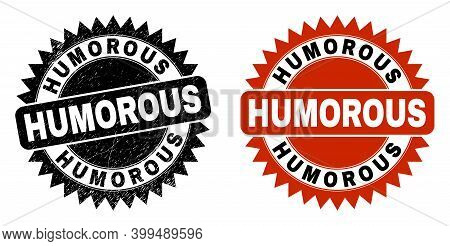 Black Rosette Humorous Stamp. Flat Vector Distress Stamp With Humorous Text Inside Sharp Rosette, An