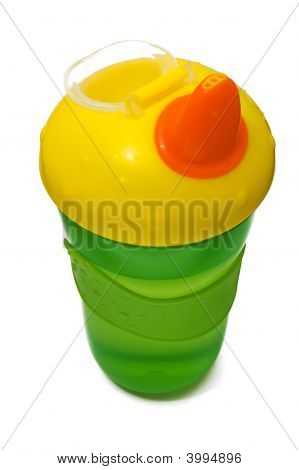 Plastic Sippy Cup, Green With Yellow Cover