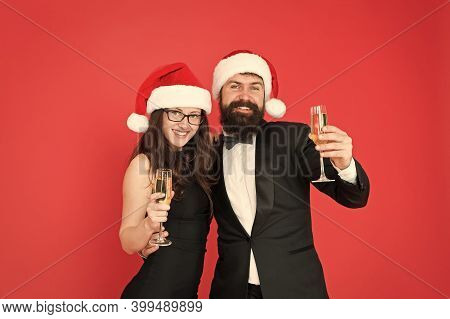 New Year Eve Champagne Party. Happy Family Celebrate New Year And Christmas. Couple In Love Enjoy Sa
