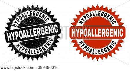 Black Rosette Hypoallergenic Seal Stamp. Flat Vector Grunge Stamp With Hypoallergenic Phrase Inside